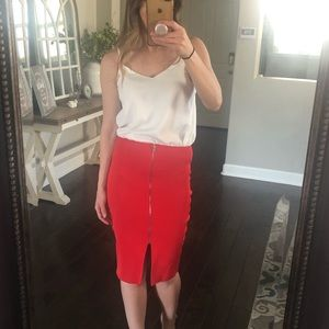 Wow Couture red high rise stretchy zip front skirt